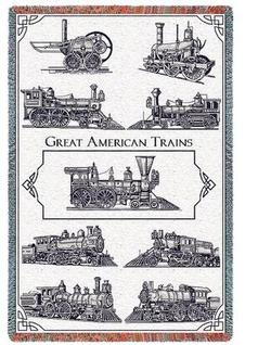 Great American Trains Throw Blanket