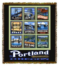 Bridges of Portland Tapestry Throw