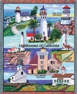 California Lighthouses Tapestry Throw