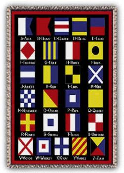 Nautical Flags Tapestry Throw