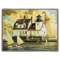 NEW Rockland Breakwater Light Tapestry Throw