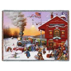 Whistle Stop Christmas Tapestry Throw