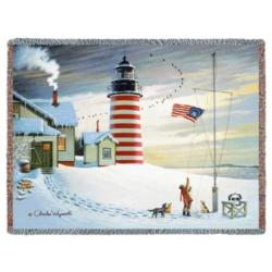 NEW West Quoddy Lighthouse Tapestry Throw