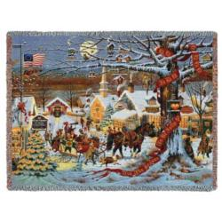 Small Town Christmas Tapestry Throw
