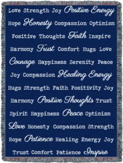 """Word Hugs"" Dark Blue Tapestry Throw"
