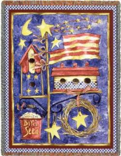 Flagpole Birdhouses Tapestry Throw