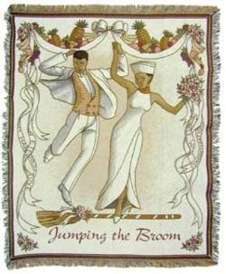 Jumping The Broom Wedding Tradition Tapestry Throw