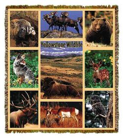 Yellowstone National Park Wildlife Tapesatry Throw