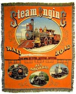 Steam Engine Train Tapestry Throw