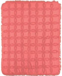 SALE Vintage Coral Tufted Cotton Throw