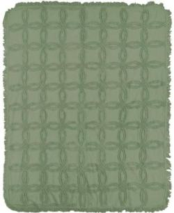 Olive Green Vintage Tufted CottonThrow