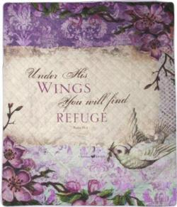 Under His Wings, Psalm 91:4 Quilt Blanket