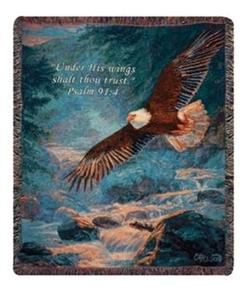 American Majesty Psalm 91:4 Tapestry Throw