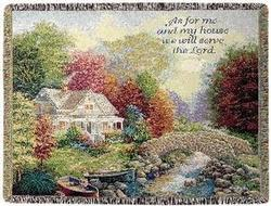 Autumn Tranquility, Joshua 24:15 Tapestry Throw