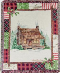 Christmas Cabin Patch Tapestry Throw