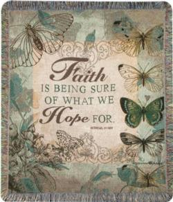 Faith Is Being Sure, Hebrews 11:1, NIV Tapestry Throw