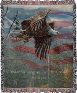 Freedom, Psalm 91:4 May Tapestry Throw