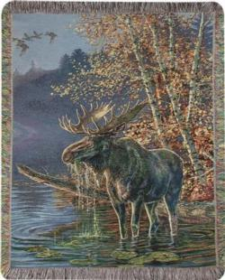 Moose In Water Tapestry Throw