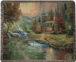 Mountain Paradise Psalm 46:10 Tapestry Throw