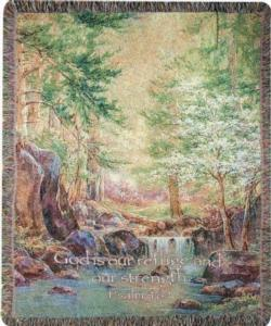 Nature's Retreat, Psalm 46:1 Tapestry Throw