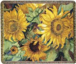 Sunny Faces Sunflower Tapestry Throw