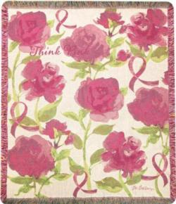 Think Pink Breast Cancer Awareness Tapestry Thro