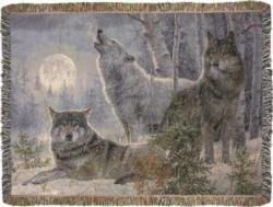 Winter Moonrise Tapestry Throw