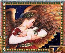 Angel and Dove Tapestry Throw