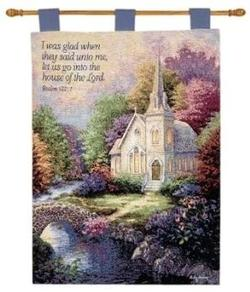 Church in the Country Psalm 122:1 Tapestry Wall Hanging