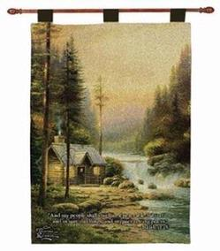 Evening in the Forest, Isaiah 32:18 Tapestry Wall Hanging