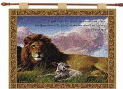Lion and the Lamb, Psalm 4:8 Tapestry Wall Hanging