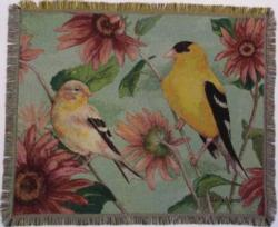SALE Yellow Finches Tapestry Throw