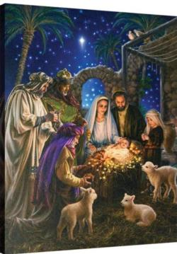 Away in a Manger Remote Control Fiber Optic Canvas Art