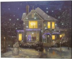 NEW Holiday Cheer Control Fiber Optic Canvas Art