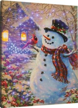 Snowman Feathered Friend Remote Control Fiber Optic Canvas Art