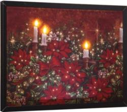 Poinsettia Remote Control Fiber Optic Canvas Art