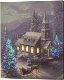 Christmas Sleigh Ride Control Fiber Optic Canvas Art