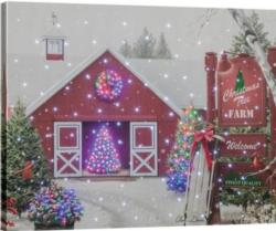 Christmas Tree Farm Remote Control Fiber Optic Canvas Art