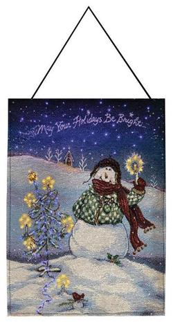 Flake Snowman Remote Control Fiber Optic Tapestry Wallhanging