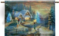 Country Christmas Homecoming Fiber Optic Tapestry Wall Hanging