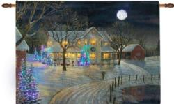 Holiday Night Remote Control Fiber Optic Tapestry Wallhanging