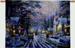 Memories of Christmas Past Remote Control Fiber Optic Tapestry Wallhanging
