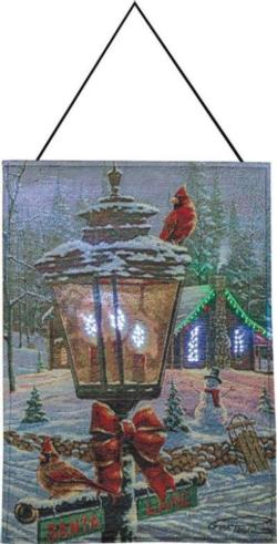 Christmas Perch Remote Fiber Optic Tapestry Wall Hanging