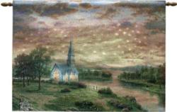 Sunrise Chapel Remote Control Fiber Optic Tapestry Wall Hanging