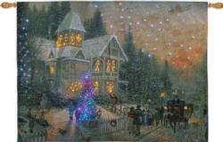 Victorian Christmas Remote Control Fiber Optic Tapestry Wallhanging