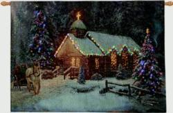 Christmas Chapel Remote Control Fiber Optic Tapestry Wallhanging