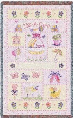 its a girl cotton baby throw cotton throws tapestries throw
