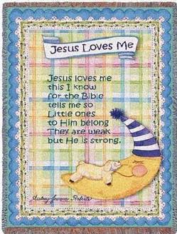 Jesus Loves Me - Boy Tapestry Throw