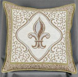 Fleur De Lis - Natural Tapestry Pillow