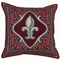 Fleur De Lis - Brick Red Tapestry Pillow